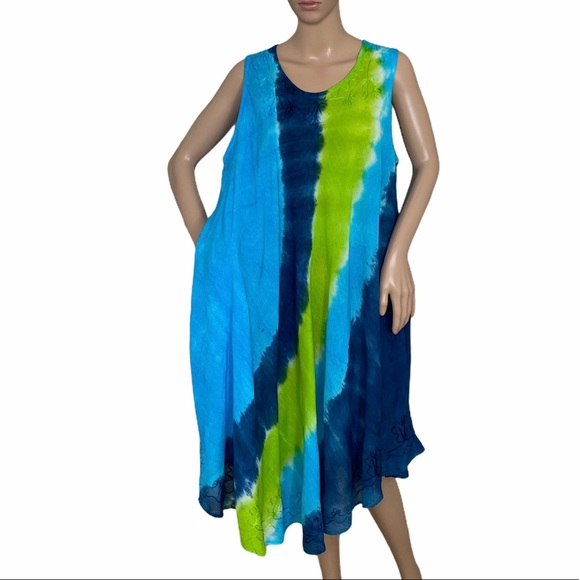 MM Collections Dresses & Skirts - MM Collection Women's Dress Blue Multi Print Rayon